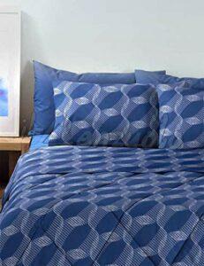 Bassetti Parure de lit double en pur coton Bleu