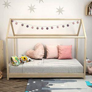 BlueSkyHomeUK Cadre de lit simple en pin massif pour enfants 76 cm Jaune
