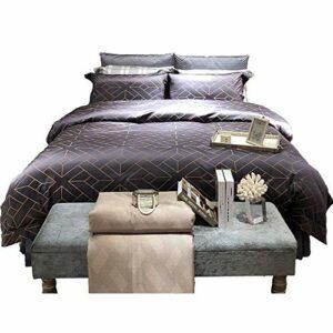Chtom Parure de lit à motifs géométriques dorés et bleus – Cadeau idéal – Style hôtel – Dimensions : 220 x 240 cm – Couleur : 220 x 240 cm