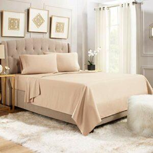 Empyrean Bedding Parure de lit 4 pièces – Parure de lit 4 pièces – Draps doux – Parure de lit pleine taille – 35,6 à 40,6 cm – En microfibre respirante – Sable taupe