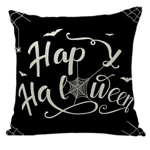 FUYUNDA Housses d'oreiller d'halloween Taies d'oreiller Décoratives Décorations d'halloween Taies d'oreiller en Lin Taies De Coussin 18×18 Pouces pour Canapé Canapé Cadeau d'halloween