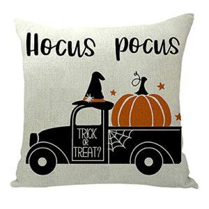 FUYUNDA Housses d'oreiller Halloween 18×18, Décorations d'halloween Coton Lin Housse De Coussin Housse De Coussin pour Canapé, Décor d'halloween Cadeau d'halloween