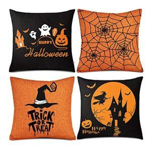 FUYUNDA Taie d'oreiller Halloween 4 Pièces, Taie d'oreiller Orange Et Noir, Décoration De Housse De Coussin De Canapé-lit en Lin Happy Halloween (18″X 18″)