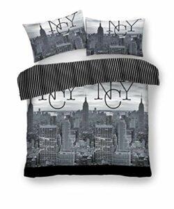 Gaveno Cavailia NYC Noir/gris Luxe Housses de couette Housses de couette réversible Parure de lit avec taies d'oreiller toutes les tailles, noir/gris, Super king
