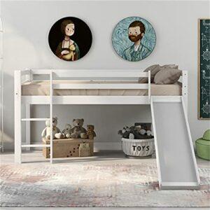 GKYI Cadre de lit mezzanine pour enfant avec toboggan réglable et échelle en bois pour bureau, dortoir, école, dortoir, maison
