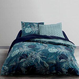Housse de Couette Zippée 220x240cm Coton 57 Fils/cm² (Tropical Blue 9)