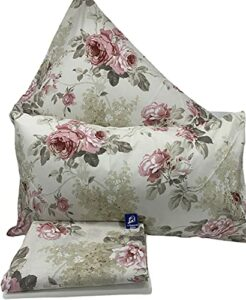 L'EMPORIO CASA Parure de lit Rose Fiorato pour lit double – Drap très doux 100 % pur coton italien