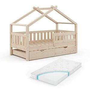 Lit Enfant VitaliSpa Design 160 x 80, lit bébé, lit cabane, lit d'appoint, Matelas, Naturel