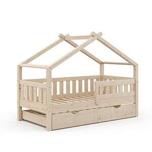 Lit Enfant VitaliSpa Design 160 x 80, lit bébé, lit cabane, lit d'appoint, sommier à Lattes, Naturel