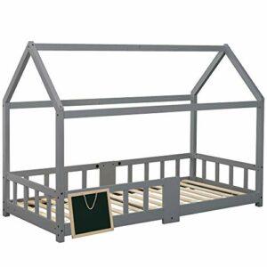 ModernLuxe Lit pour enfant 90 x 200 cm, lit en bois pour enfants, avec tableau, sommier à lattes, protection anti-chute, en bois de pin pour enfants, sans matelas, avec mini tableau noir – Gris