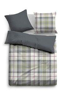 TOM TAILOR 0009713 Parure de lit avec taie d'oreiller en flanelle 1x 155×220 cm + 1x 80×80 cm, forest