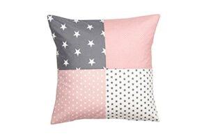 ULLENBOOM ® taie d'oreiller 45×45 cm enfant & bébé gris rose (Made in EU) – taie d'oreiller 45x45cm en coton avec fermeture portefeuille, housse de coussins déco, motif : étoiles, patchwork
