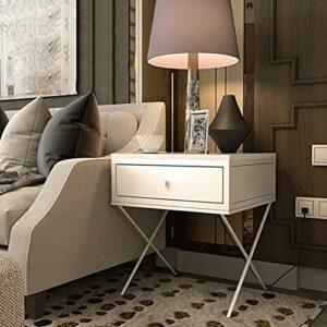 YY Armoire de chevet en fer forgé doré Nordic Chambre à coucher Stockage Armoire de chevet Hôtel Salon Mini Cabinet (Color : White, Size : 45x45x50cm)