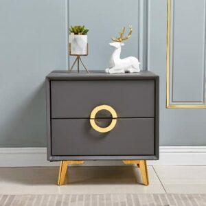 YY Cabinet de table de chevet nordique Cabinet Simple Luxe Moderne Solide Bois Multifonctionnel Chambre à coucher Cabinet de chevet Installation gratuite (Color : A gray)
