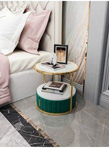 YY Sofa Simple Salon Sofa Tableaux de nuit pour chambre à coucher Hôtels Tables de chevet (Color : Round green)