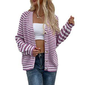 Automne Et Hiver DéContracté Mode Femmes Col en V Rayé Lanterne à Manches Longues Pull Simple Boutonnage LâChe Cardigan Pull Manteau Veste Femmes