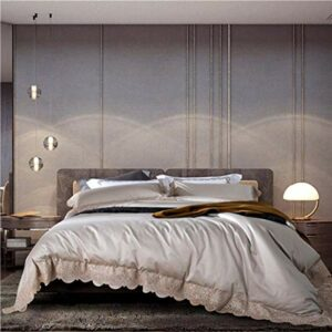 BBZZ Parure de lit tendance 4 pièces en coton égyptien avec housse de couette et taie d'oreiller Motif princesse Champagne Grande taille