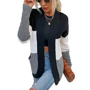BDCUYAHSKL Automne Et Hiver DéContracté Mode Femmes Col en V Coutures ContrastéEs à Manches Longues Pull en Tricot De Poche LâChe sans Bouton Cardigan Pull Manteau Haut Femmes