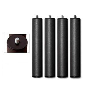 Bedding Lot de 4 pieds cylindriques métalliques Hauteur 25 cm avec filetage métrique 10 pour sommier/base