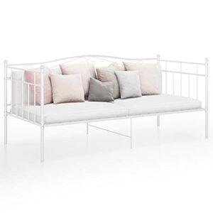 Blanc Matériau : métal Enduit de Poudre Cadre de canapé-lit Blanc Métal 90×200 cmMeubles Lits Accessoires Lits Cadres de lit