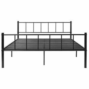 Bodhi2000 Cadre de lit classique pour chambre à coucher, cadre de lit double en métal vintage avec tête de lit/pied de lit pour enfants/adultes 135 cm