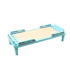 Cadre Cadre de lit de Sieste de Maternelle, Cadre de lit en Bois Simple épaissi pour pépinière, Facile/sûr/détachable(Size:130x59x32cm,Color:Bleu)