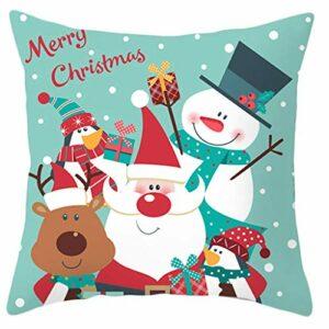 Cheveux de polyester de Noël Coussin d'oreiller Dessin animé Santa Deer Penguin Snowman Imprimé Coussin Décoratif Coussin Décoratif jianyou (Color : I)