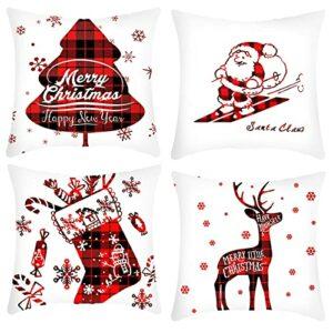 Coussins de Noël Coussins Ensemble de 4 Coussins de Noël Rouge Coussins Coussins Coussins Coussins de Noël Coussins Coussins Sofa Xmas Décor 18 x 18 (Color : D, Taille : 45 * 45 cm)