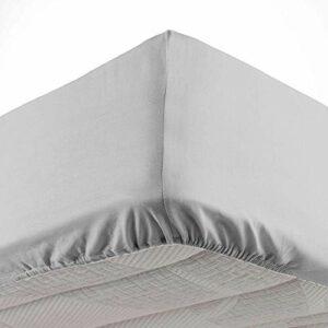 Douceur d'Intérieur, Drap Housse 2 Personnes 140 X 190 cm Microfibre Unie Oscar Gris Clair, 100% Polyester