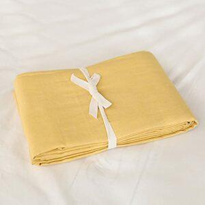 Draps en Pur Coton lavé guiyuan et Coton à Carreaux Simple literie Double dortoir Drap de lit Jaune 180×200 + 25CM