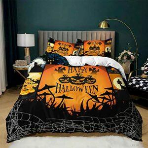 DRYT Housse de couette Halloween motif citrouille Happy Halloween – Parure de lit pour chambre à coucher, école, dortoir (A, 200 x 200 cm)