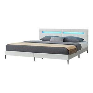 [en.casa] Lit Double Rembourré Stylé avec Éclairage Intégré LED RVB Cadre de Lit Solide MDF Similicuir 180 x 200 cm Blanc