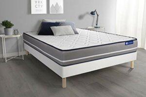 Ensemble Matelas à mémoire ACTIMEMO Pur 140x200cm 3zones de Confort + sommier KIT Blanc – Epaisseur : 20 cm – Confort : Ferme