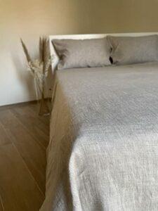 Ger3as Drap de lit en lin sans caoutchouc 100 % délavé naturel (couleur naturelle, 240 x 260 cm)