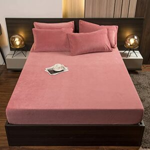 HAIBA Douceur d'intérieur Drap Housse Souple Infroissable Durable Doux Confortable,Rose foncé,180x200cm+25cm