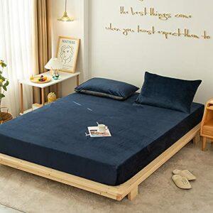 HAIBA Draps Housses Lit Double, Matériau en Coton brossé, Doux, Respirant et Confortable, Bon Ajustement pour Le Matelas,Bleu foncé,180x200cm+25cm/3pcs
