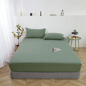 HAIBA Parure de lit en 100% Coton, Disponible en différentes Tailles et Couleurs, pour lit 2 Places,Grille Verte 02,100x200cm+30cm