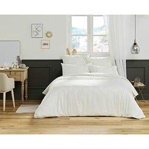 Housse de Couette 100% Coton Luxe 57 Fils 240 x 220 cm Agathe Blanc