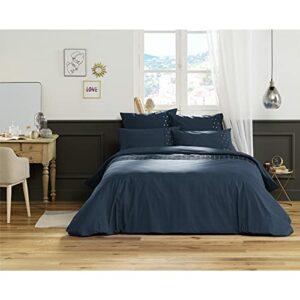 Housse de Couette 100% Coton Luxe 57 Fils 260 x 240 cm Agathe Bleu