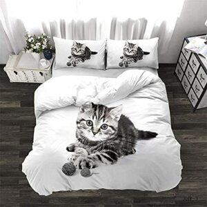 Housse de Couette Chat, Housse de Couette et Taies d'oreillers Animaux Microfibre, Parure de lit réversible pour lit Simple/Double/King (Un Chat, 200x200cm)