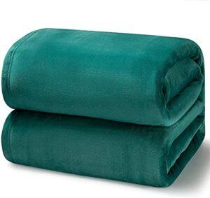 JoHUAZ Couvertures de lit en Polaire Taille Reine Gris -Doux Peluche de Peluche de Peluche de Luxe Confortable Microfibre,90×90 Pouces (Color : Emerald Green, Size : 108×90)