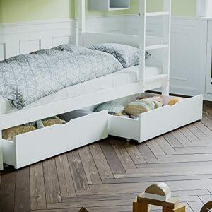 Junior Vida Tiroir de lit en Bois Balance, Blanc, H 20 91 x W 60 Cm Approx