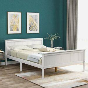 LIFE CARVER Cadre de lit double en bois avec tête de lit et pied de lit, lit en pin pour chambre d'enfant Ivoire