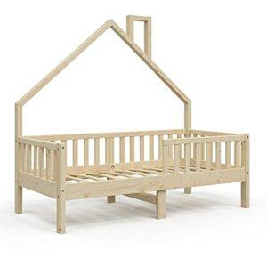 Lit cabane VitaliSpa Noemi, lit Enfant, lit Aire de Jeux, 80 x 160 cm Naturel, barrière Anti-Chute