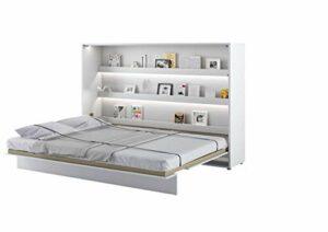 Lit Mural Escamotable BED CONCEPT Horizontal 160 x 200 Blanc Laqué