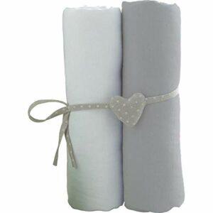 Lot de 2 Draps housse Blanc/Gris Babycalin – 60 x 120 cm