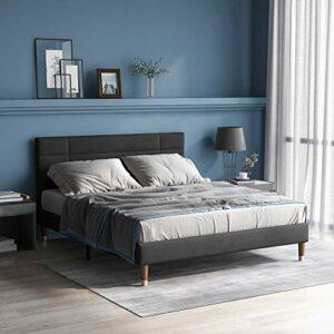 Merax Lit double capitonné avec coffre de rangement et sommier à lattes, cadre de lit capitonné avec tête de lit en velours gris foncé, pour adultes et adolescents, gris foncé (matelas non inclus)