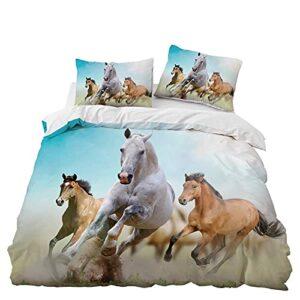MKHFUW Parure de lit pour chevaux, impression 3D, motif cheval, simple, double housse de couette, king size, pour garçons et filles (220 x 240 cm)