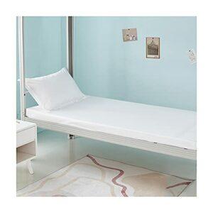 MZP Drap Housse 80×190 à 200x200cm avec Bonnet 30cm 150cm 100% Coton pour Matelas Epais Drap de lit 1 Personnes Enfant Adulte Couleur Unie Fitted Sheet (Color : White, Size : 150×200+30cm+48x74cmx2)