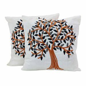 NOVICA Coton Jeter Taie d'oreiller « été Tranquille » Gris Orange Blanc